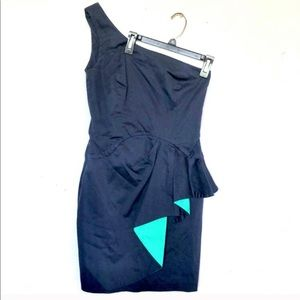 French connection blue one shoulder cocktail dress